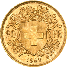 20 Francs Suisse OR avers